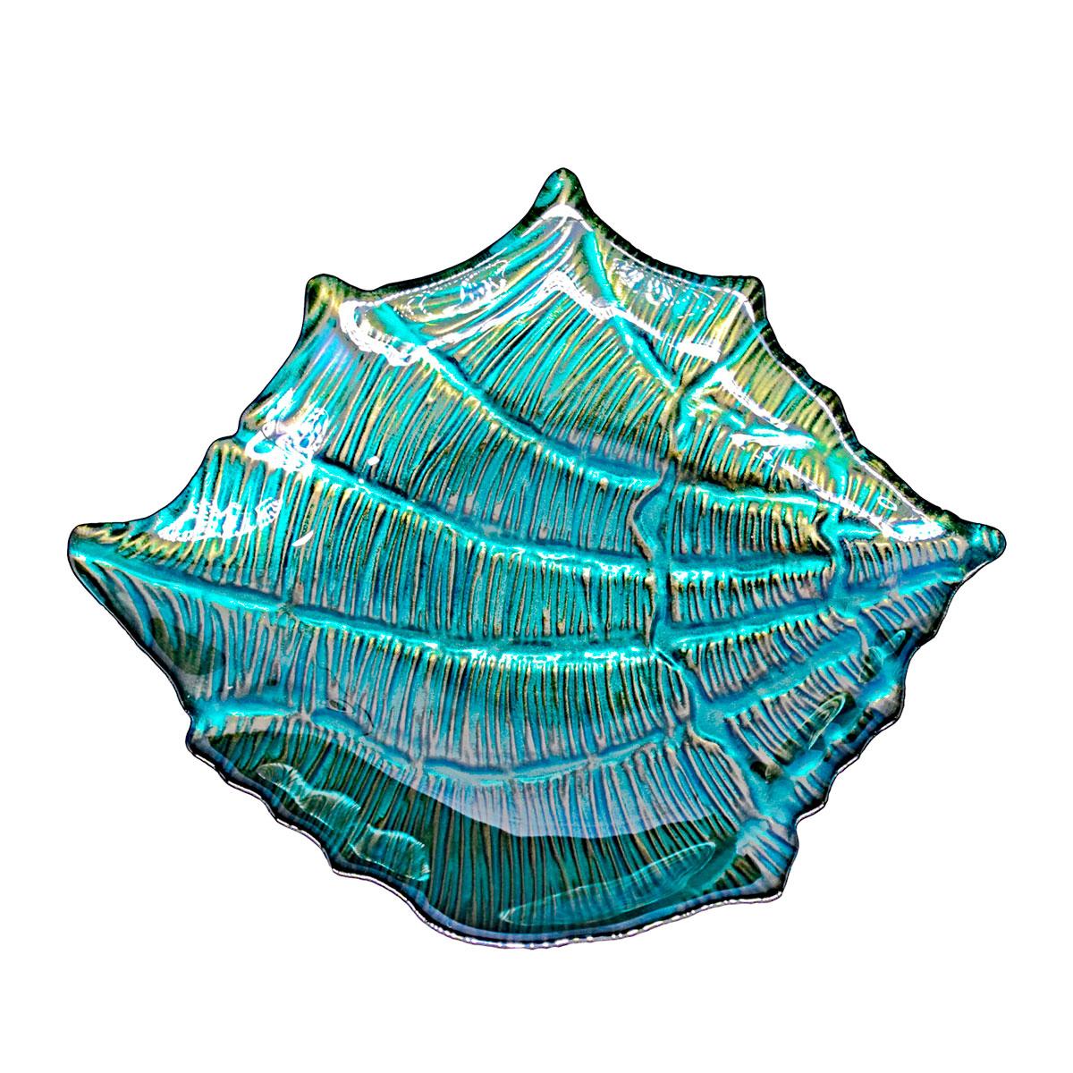ibiza concha de vidro azul com ouro