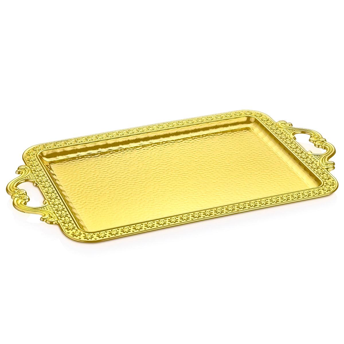 bandeja retangular de metal ouro