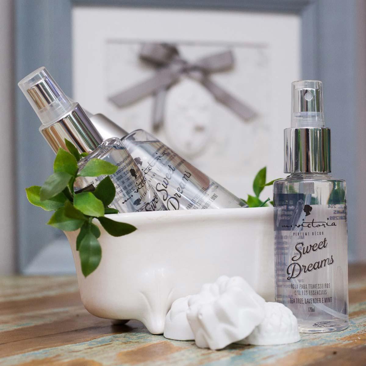Água para travesseiros com óleos essenciais de Tea Tree, Lavanda e Menta