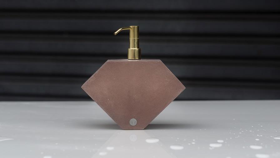 Saboneteira Lápida Terra + Válvula dourada (disponível em 6 cores)