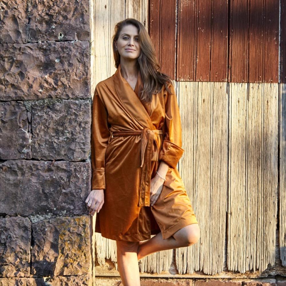 Robe de Veludo Color Connection - Cor Dark Cheddar