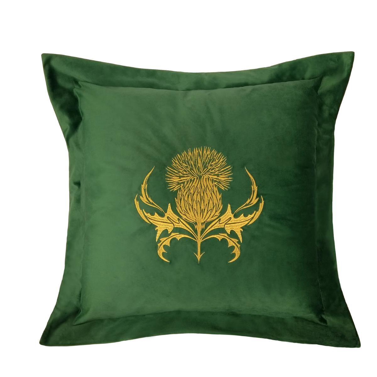 Almofada Cardo Bordada 50x50 Opção em Veludo Verde Com Bordado Dourado