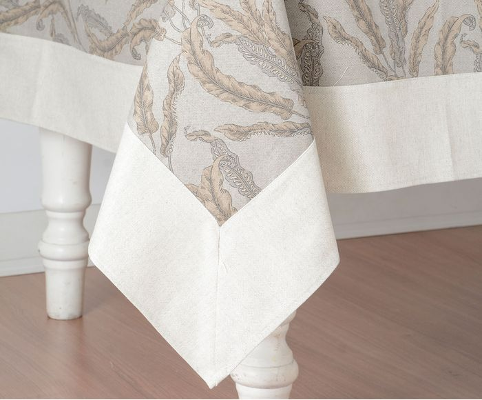 Bico toalha de mesa Folha bege impermeável