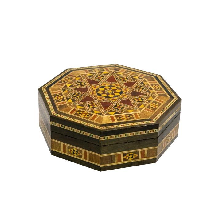 Caixa octogonal marchetaria de madeira