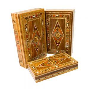 Caixa retangular machetaria de madeira modelo losango diversos tamanhos DSC06729