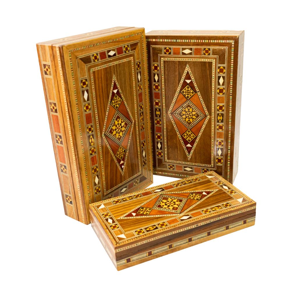 Caixa-retangular-marchetaria de madeira modelo losango diversos tamanhos