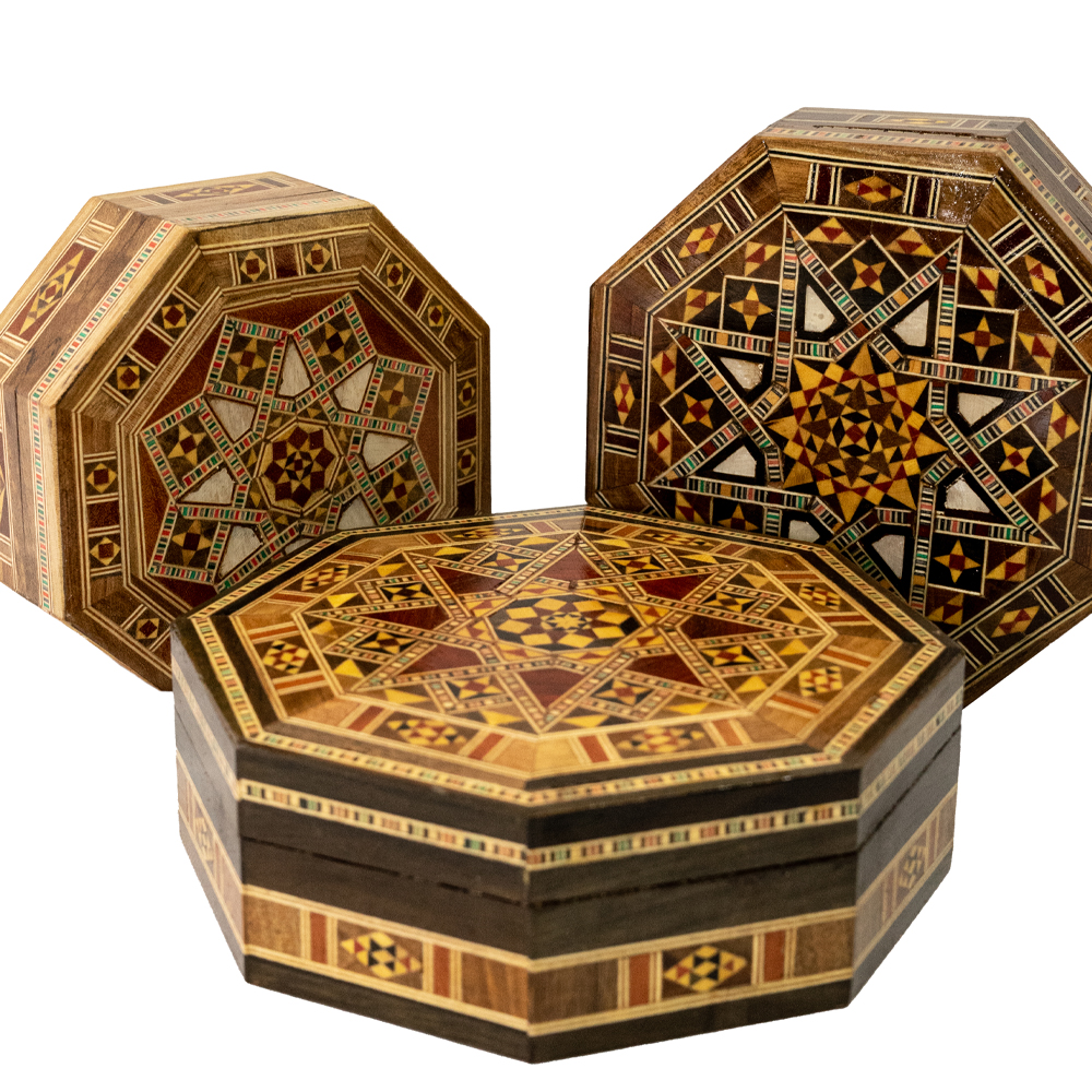 Caixas de marchetaria de madeira desenhos e diversos tamanhos
