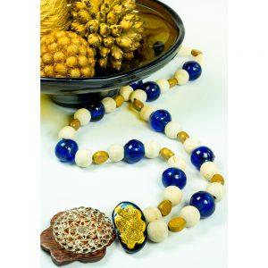 Colar de mesa de madeira e bolas de murano coleção brasilianista DSC06925