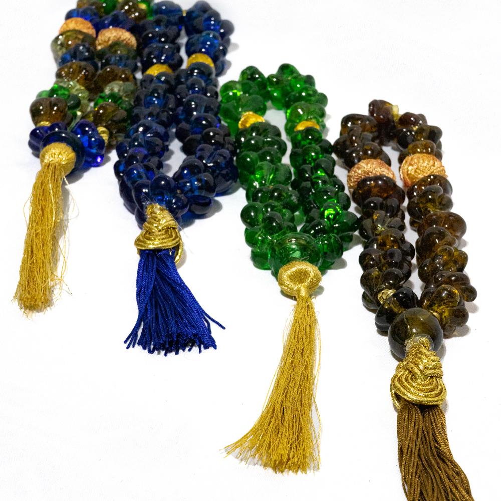 Colar de murano modelo clássico nas cores verde, azul, ambar e color