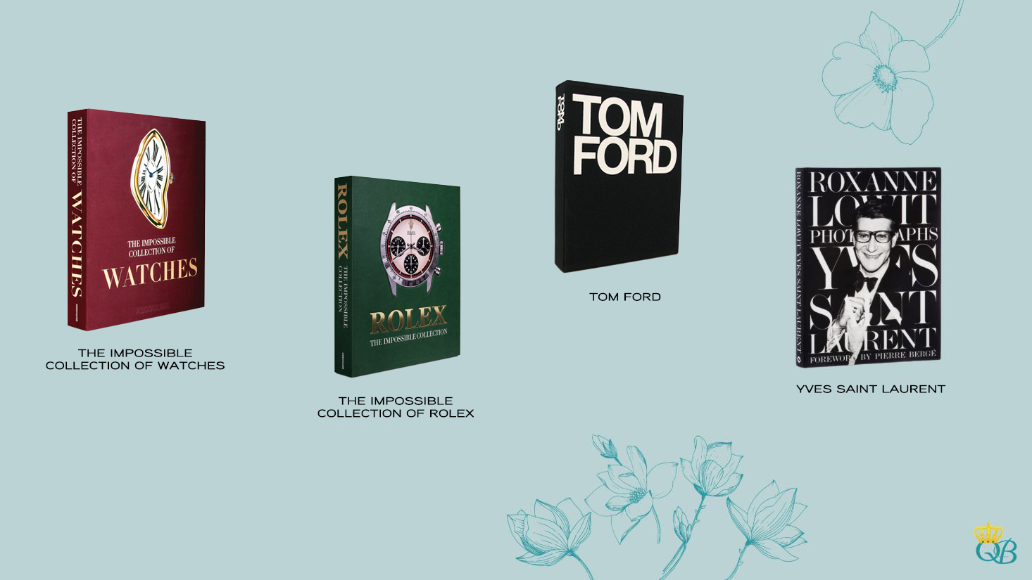 Livros: The Impossible Collection of Watches, The Impossible Collection of Rolex, Tom Ford e Yves Saint Laurent.