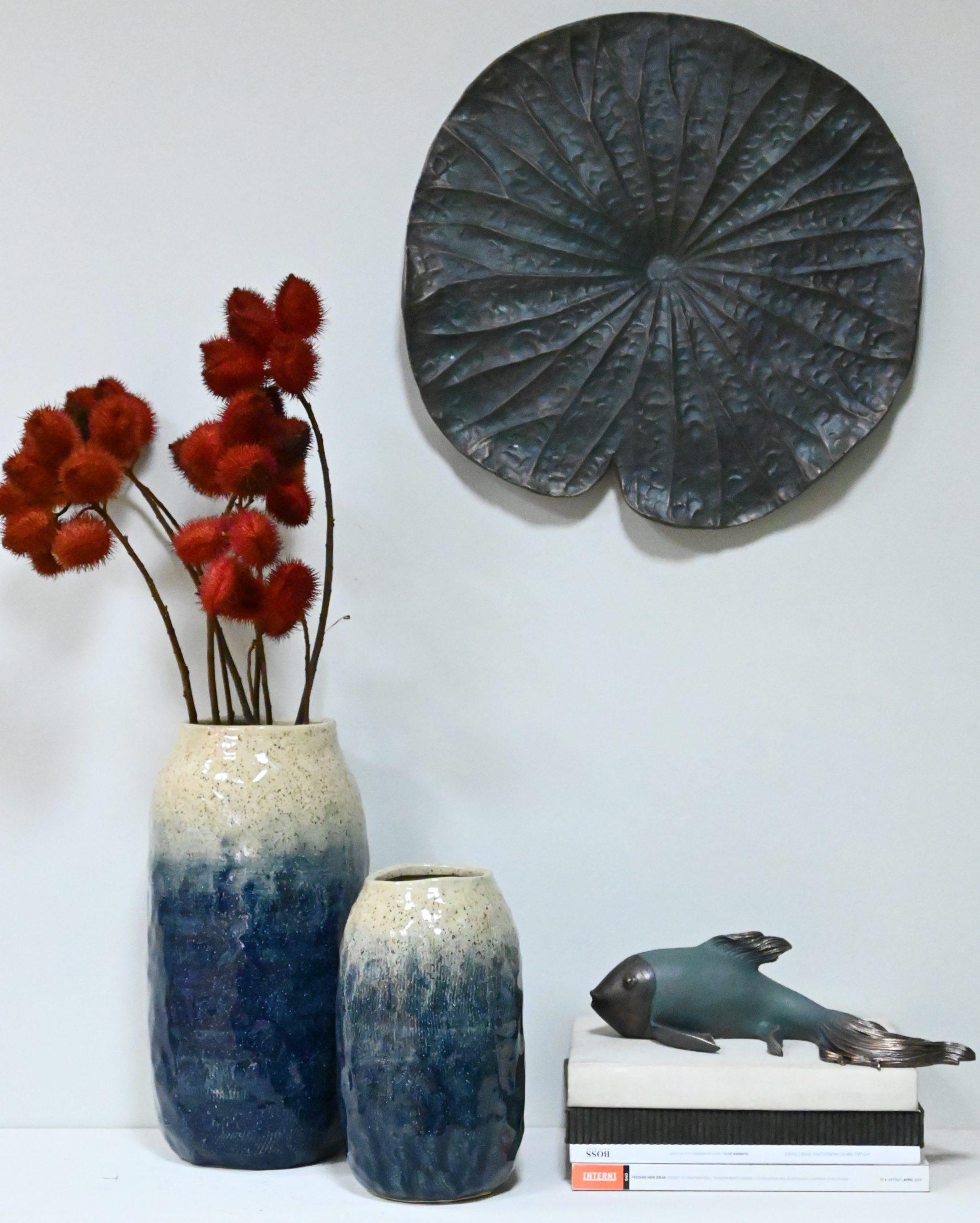 Vasos de Cerâmica Artesanal, Flor de Lotus e Carpa