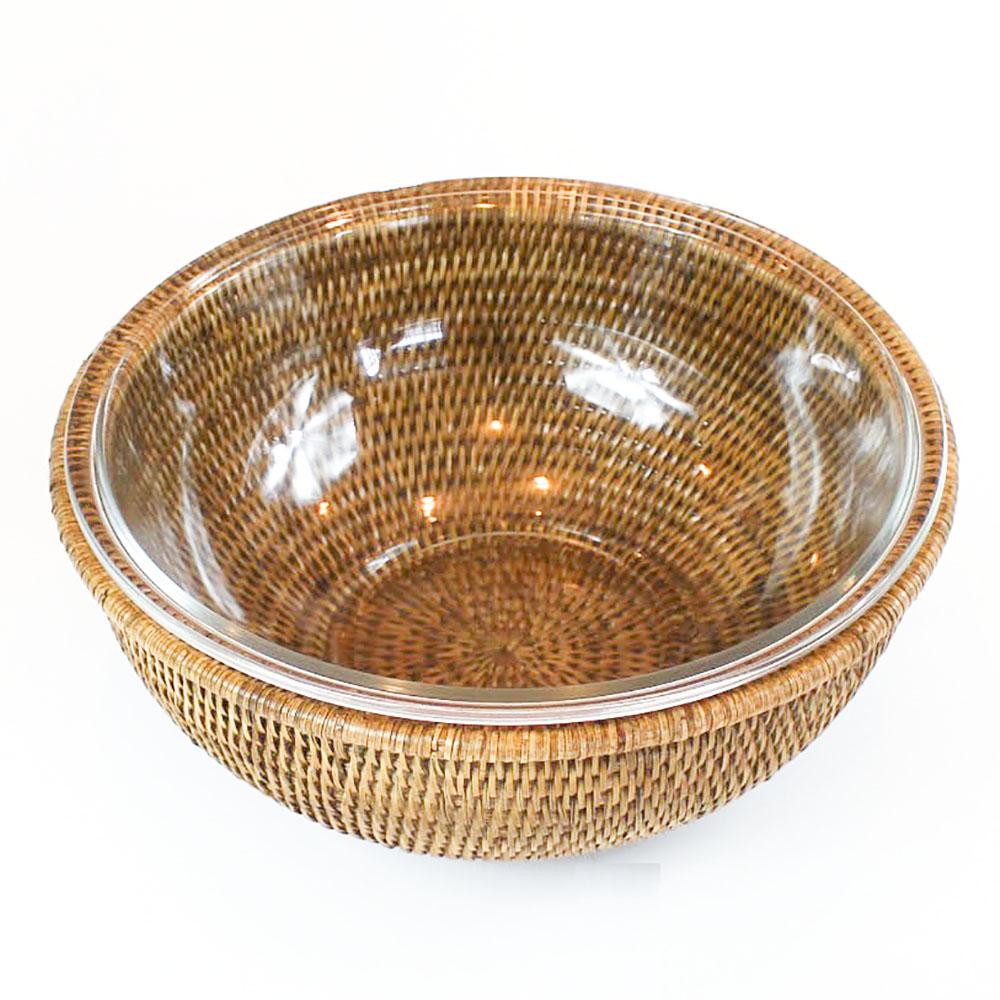 Bowl de vidro com suporte em rattan MAYA 1