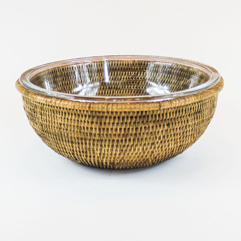 Bowl de vidro com suporte em rattan MAYA 2