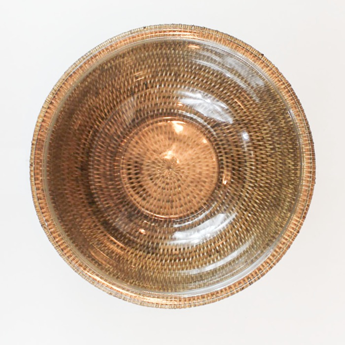 Bowl de vidro com suporte em rattan MAYA 3