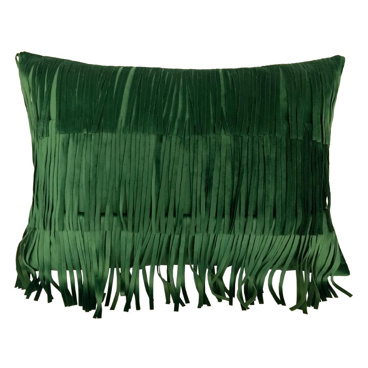 Almofada Cardo de Veludo Verde com Franjas 40x50