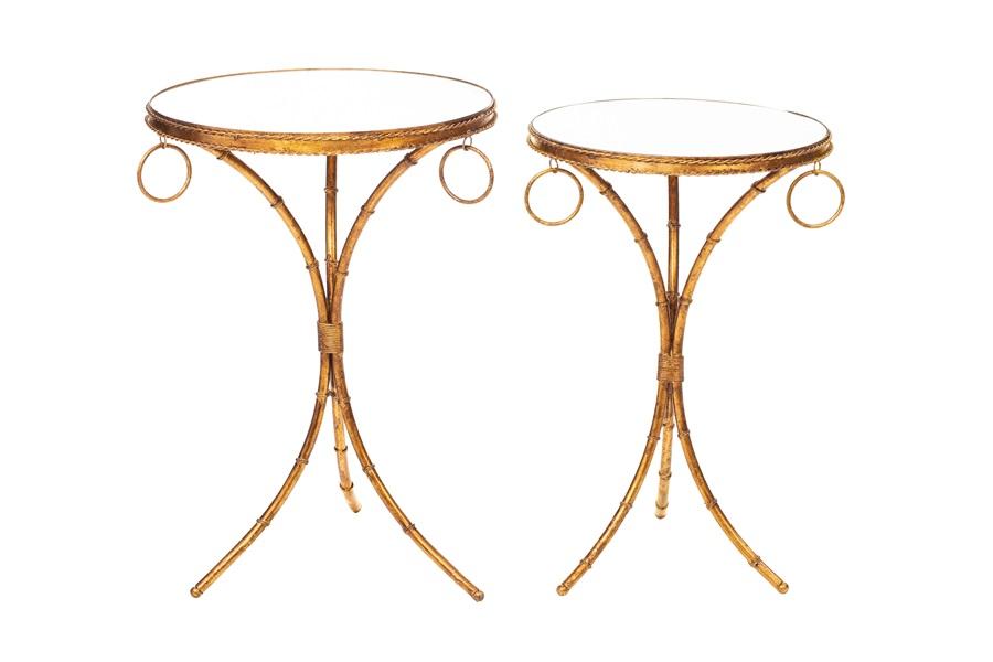 Conjunto Mesas laterias ADELE douradas com tampo de espelho