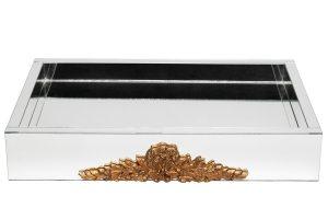 TH339 Bandeja retangular Cloé com aplique de resina dourado 60x40x10cm