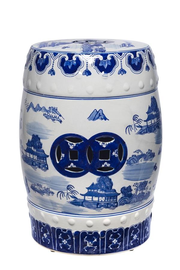 Garden seat cerâmica azul e branca