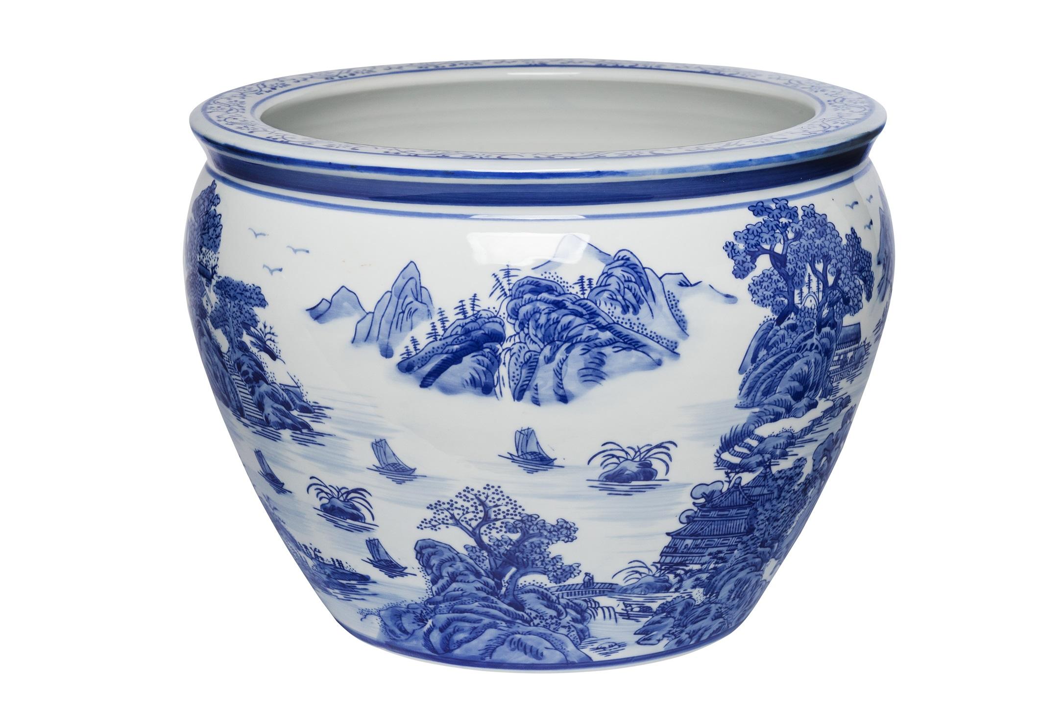 Cachepot cerâmica azul e branca