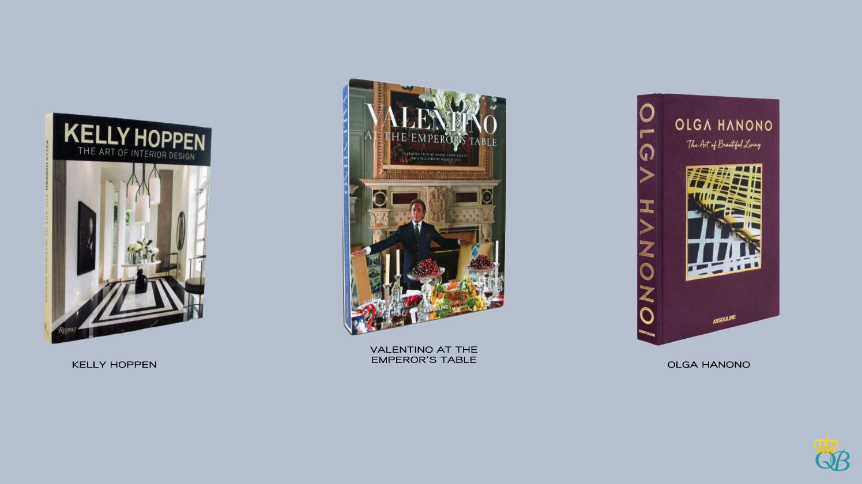 Livros: Kelly Hoppen, Valentino At The Emperor's Table e Olga Hanono.