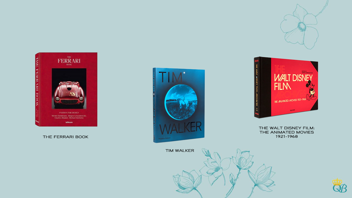 Livros: The Ferrari Book, Tim Walker e The Walt Disney.