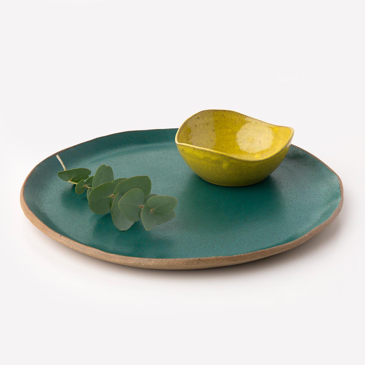Prato Orgânico Verde e Bowl Onda Amarelo