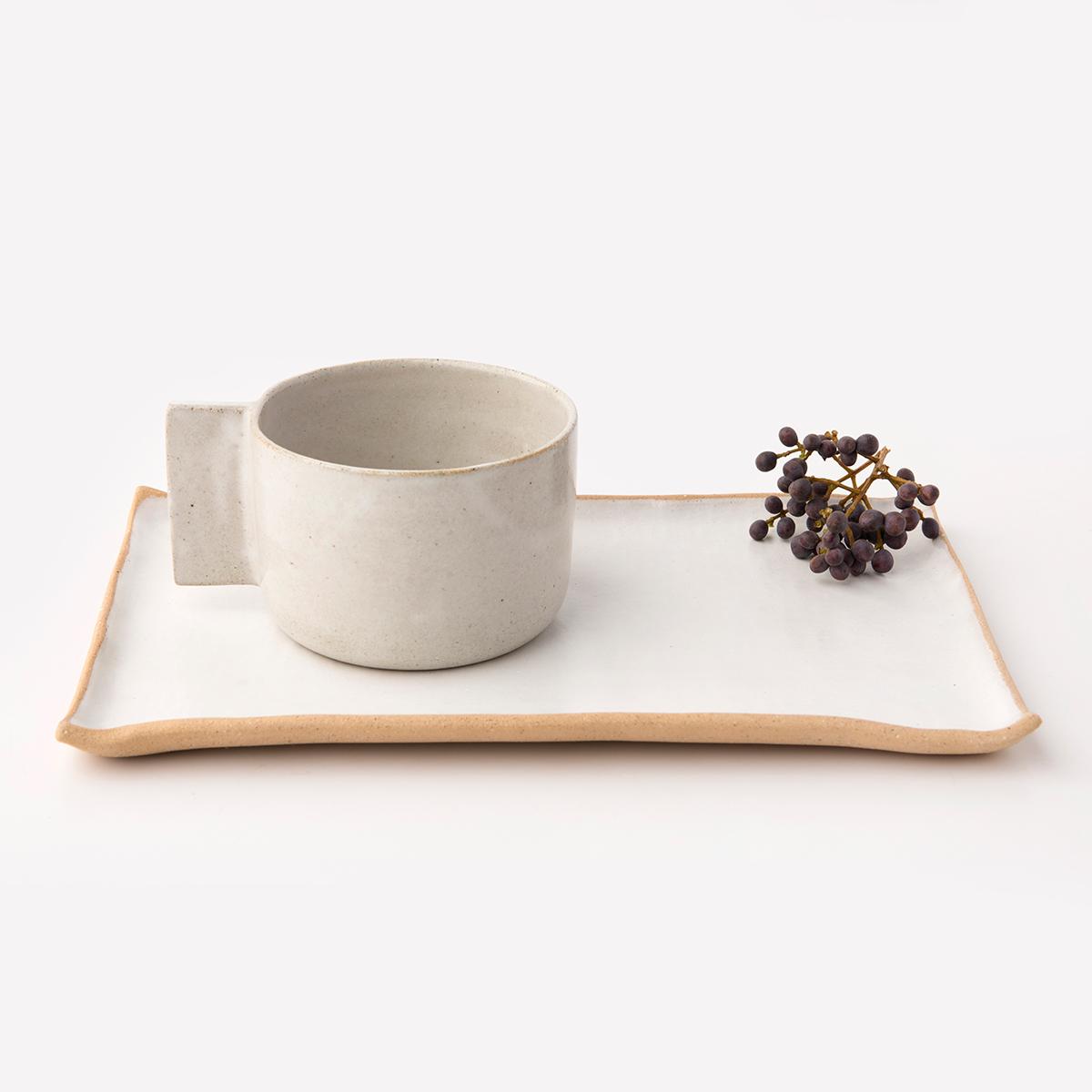 Conjunto: Caneca Bowl Palito e Travessa Retangular M – Cor: Branco