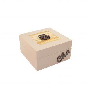 C48-CHA 4-(PORTA CHÁ 4 DIV) NUDE- R$ 62,00 16X16X8