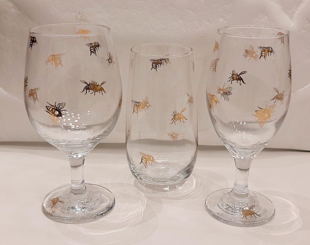 taças, decanters e copos - Abelha e Borboleta