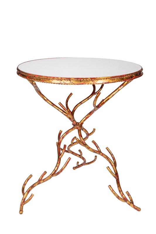 Mesa Decorativa CORAL dourada com tampo de espelho