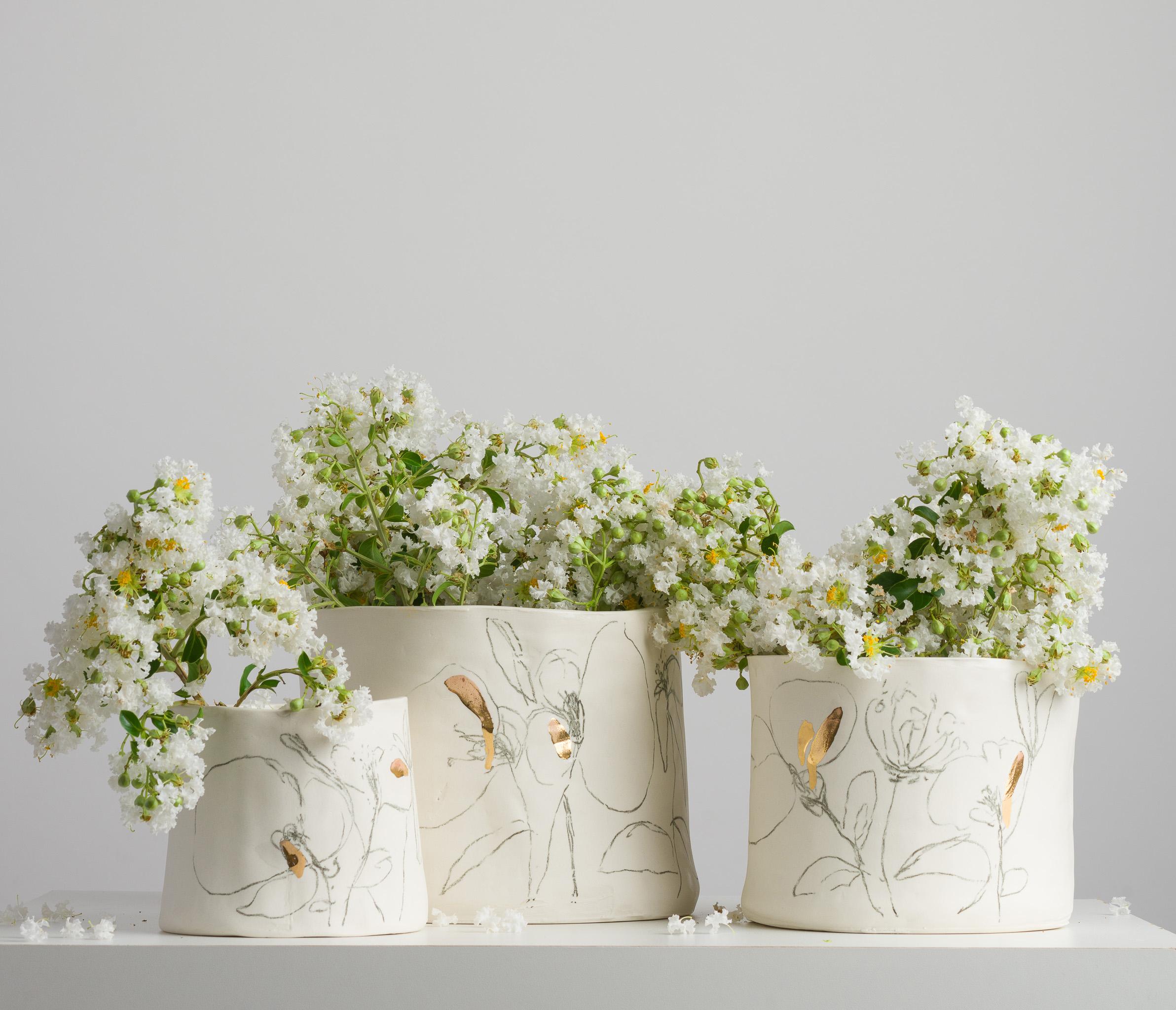 Série Botânica em Porcelana e Ouro P, M e G