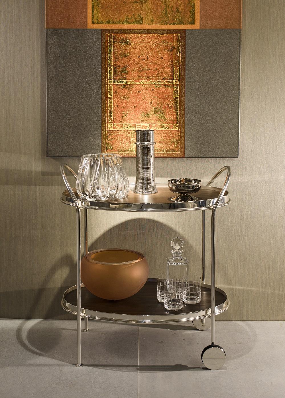 Carrinho Fiocco Oval Prata Pequeno com Espelho e Madeira