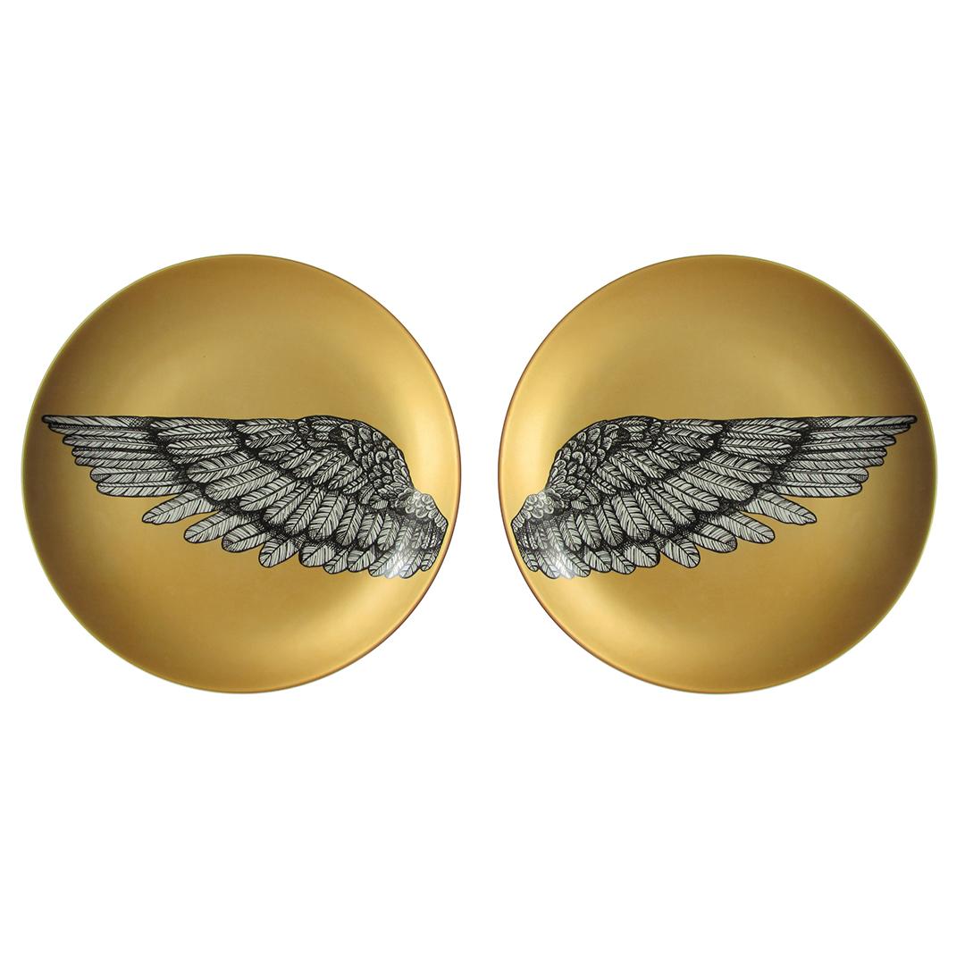Duo de Pratos Decorados Asas Gold em Porcelana 30cms