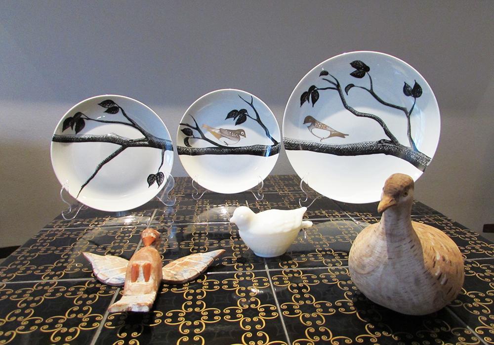 Pratos Decorados Trio com Pássaros