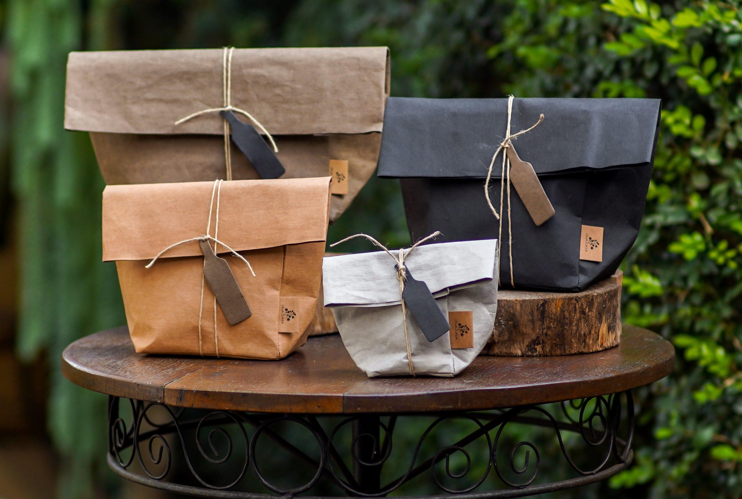 Bags de papel lavável, tamanhos P, M, G e GG