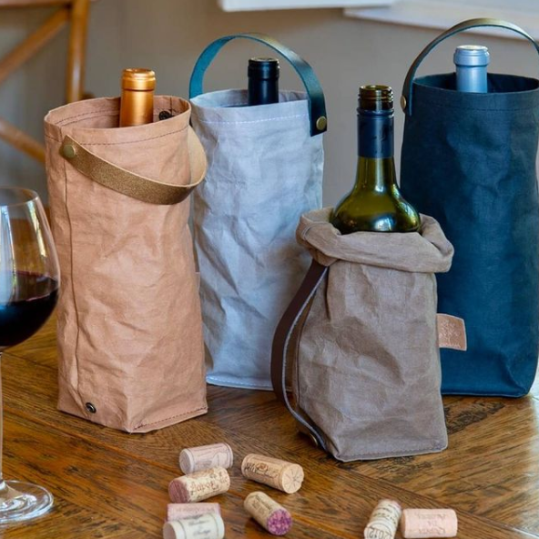 Porta-vinho individual nas cores Kraft, Cinza, Marrom e Preto